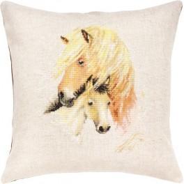 Stickpackung mit Stickgarn und Kissenbezug - Pferde