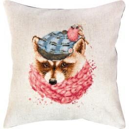 Stickpackung mit Stickgarn und Kissenbezug - Winterwaschbär