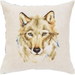 Stickpackung mit Stickgarn und Kissenbezug - Wolfsblick