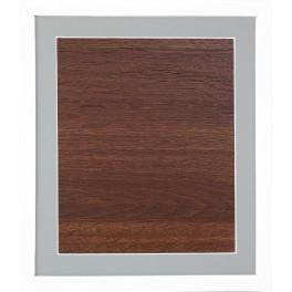 Holzrahmen - weiße Farbe - graues Passepartout (23,5x27,5cm)