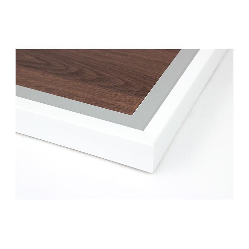 holzrahmen wei e farbe graues passepartout 21x21cm. Black Bedroom Furniture Sets. Home Design Ideas