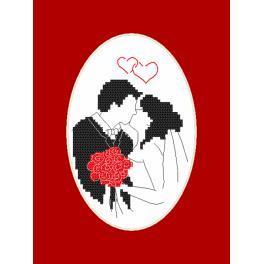 Stickpackung - Karte - Brautpaar