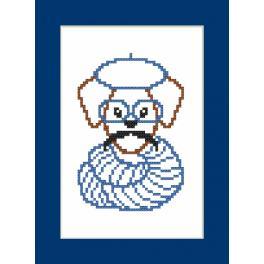 Zählmuster online - Karte - Hipster dog boy II