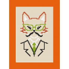 Zählmuster online - Karte - Hipster fox boy