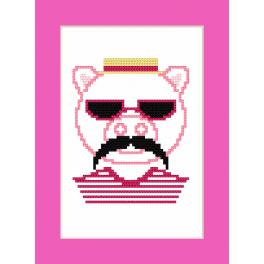 Zählmuster - Karte - Hipster pig boy