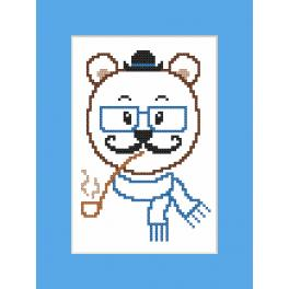 Zählmuster online - Karte - Hipster bear boy
