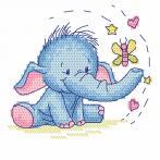 Zahlmuster online - Elefant mit Schmetterling