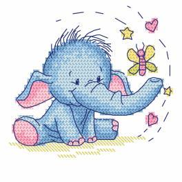Zählmuster - Elefant mit Schmetterling