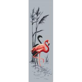 Set mit Aida mit Aufdruck und Stickgarn - Rosa Flamingo