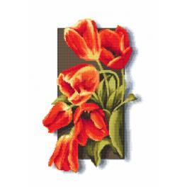 Aida mit Aufdruck - Tulpen 3D