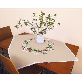 Stickpackung - Tischdecke - Um den Apfelzweig herum
