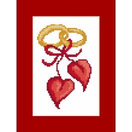 Stickpackung mit Perlen und Karte - Karte - Hochzeitsherzen