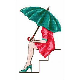 Set mit Aida mit Aufdruck und Stickgarn - Green umbrella