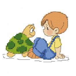 Zählmuster - Hänschen und Schildkröte