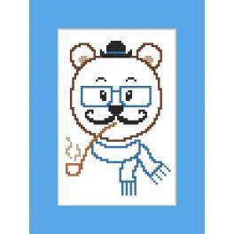 Stickpackung mit Stickgarn und Karte - Karte - Hipster bear boy