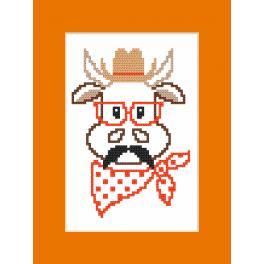 Stickpackung mit Stickgarn und Karte - Karte - Hipster cow boy