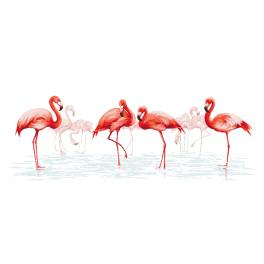 Set mit Aida mit Aufdruck und Stickgarn - Flamingosfamilie