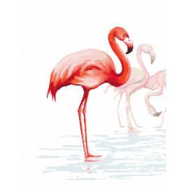 Set mit Aida mit Aufdruck und Stickgarn - Triptychon mit Flamingos - links