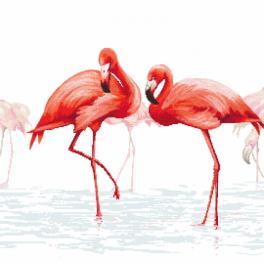 Zahlmuster online - Triptychon mit Flamingos - mitte