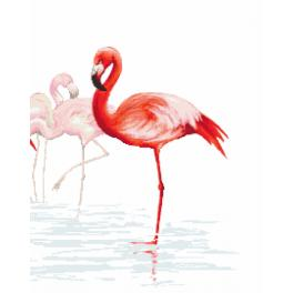 Set mit Aida mit Aufdruck und Stickgarn - Triptychon mit Flamingos - rechts