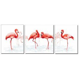 Set mit Aida mit Aufdruck und Stickgarn - Triptychon mit Flamingos