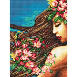 Set mit Aida mit Aufdruck und Stickgarn - Blumen im Haar