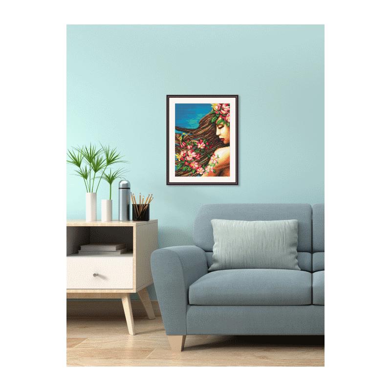 aida mit aufdruck blumen im haar. Black Bedroom Furniture Sets. Home Design Ideas