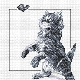 K 4385 Gobelin - Katze und Schmetterling