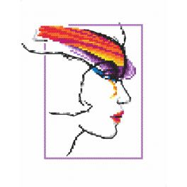 Zählmuster - Frau mit Regenbogen