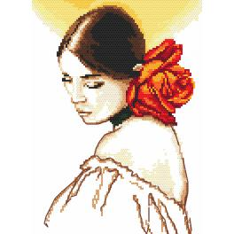 Set mit Aida mit Aufdruck und Stickgarn - Frau mit einer Rose