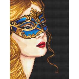 ZN 4387 Set mit Aida mit Aufdruck und Stickgarn - Geheimnisvolle mit goldblondem Haar