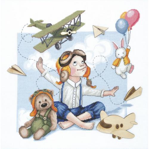 Stickpackung - Junger Pilot