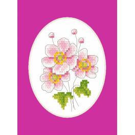 Stickpackung mit Stickgarn und Karte - Japanische Anemone