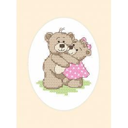 Stickpackung mit Stickgarn und Karte - Gelegenheitskarte - Teddybären