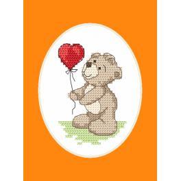 Stickpackung mit Stickgarn und Karte -Teddybär mit einem Ballon
