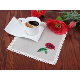 Set für Plattstichstickerei mit Serviette und Aufdruck - Mohnblume