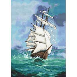 Set mit Aida mit Aufdruck und Stickgarn - Segelboot - Reise ins Unbekannte