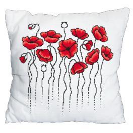 Zahlmuster online - Kissen mit Mohnblumen