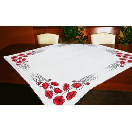 Stickpackung - Tischdecke - Tischdecke mit Mohnblumen
