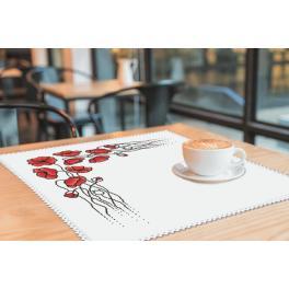 Stickpackung mit Stickgarn und Serviette - Serviette mit Mohnblumen