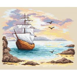 Set mit Aida mit Aufdruck und Stickgarn - Segelschiff in azurblauer Bucht
