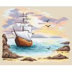 Gobelin - Segelschiff in azurblauer Bucht