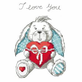 Zählmuster - Lustiger Hase - I love you