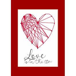 Stickpackung mit Stickgarn und Karte - Gelegenheitskarte - Herz