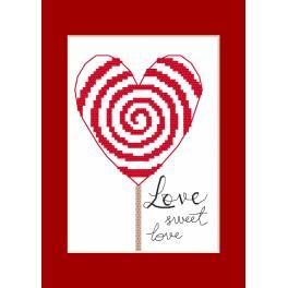 Stickpackung mit Stickgarn und Karte - Gelegenheitskarte - Herzlein
