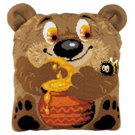 Set mit Wollgarn - Kissen - Bär