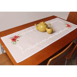 Stickpackung mit Stickgarn und Tischläufer - Tischläufer mit Mohnblumen