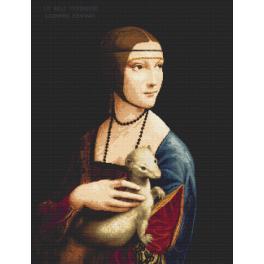 Set mit Aida mit Aufdruck und Stickgarn - Dame mit dem Hermelin - Leonardo da Vinci
