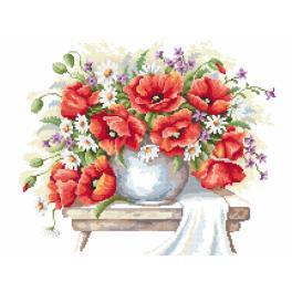 Set mit Aida mit Aufdruck und Stickgarn - Blumenstrauß mit Mohnblumen