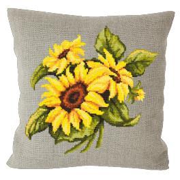 Stickpackung mit Kissenbezug - Kissen mit Sonnenblumen Leinen